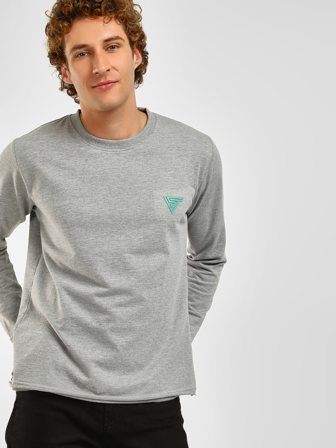 Blue Saint Grey Melange Crew Neck Sweatshirt 1