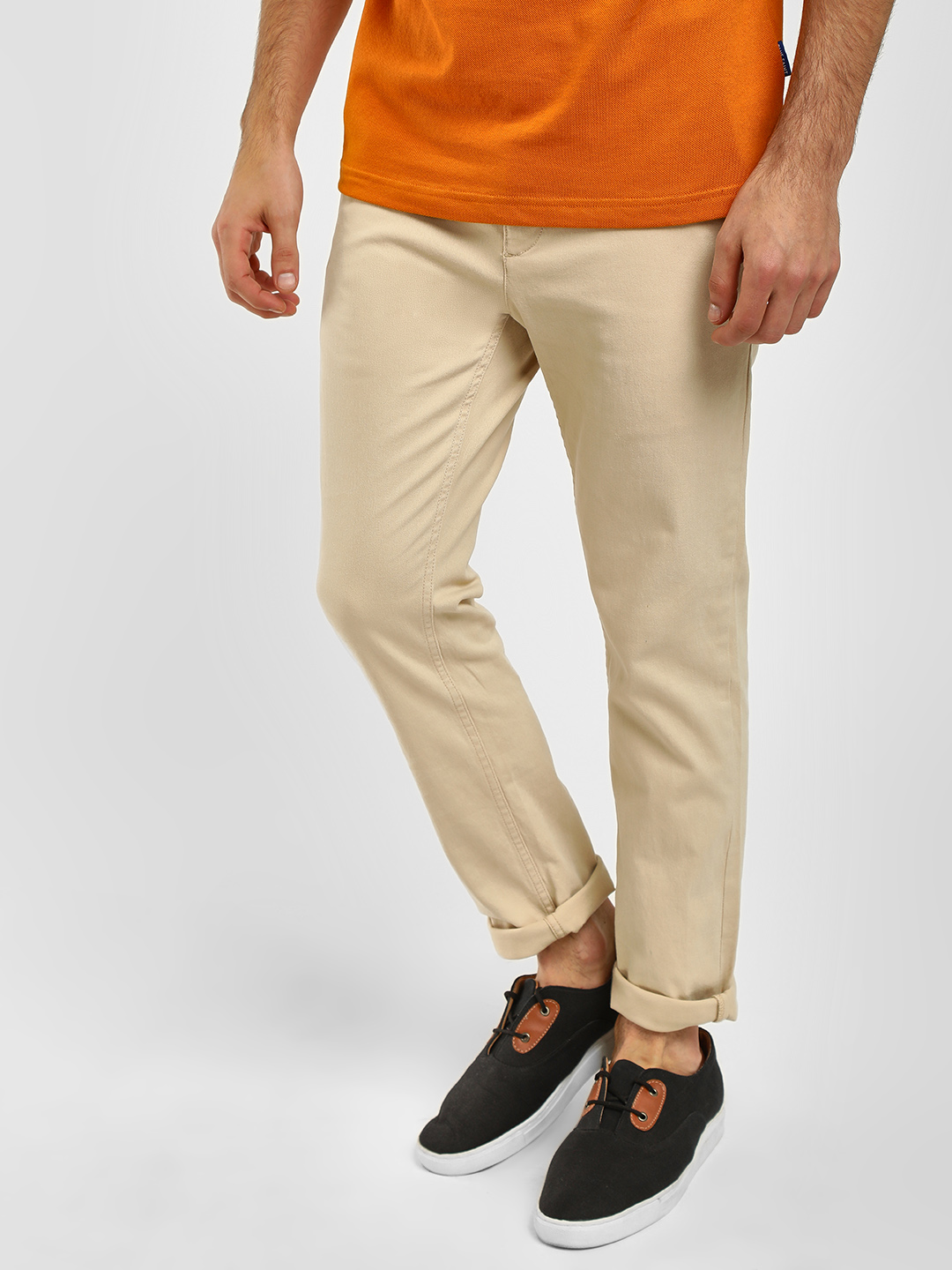 Blue Saint Off-White Washed Slim Fit Chinos 1