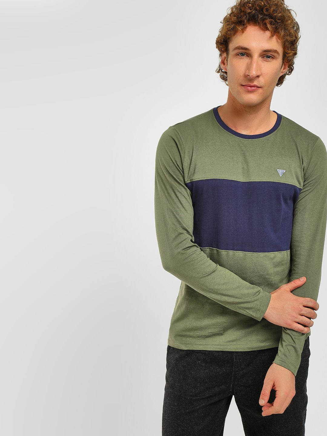 Blue Saint Green Colour Block T-Shirt 1