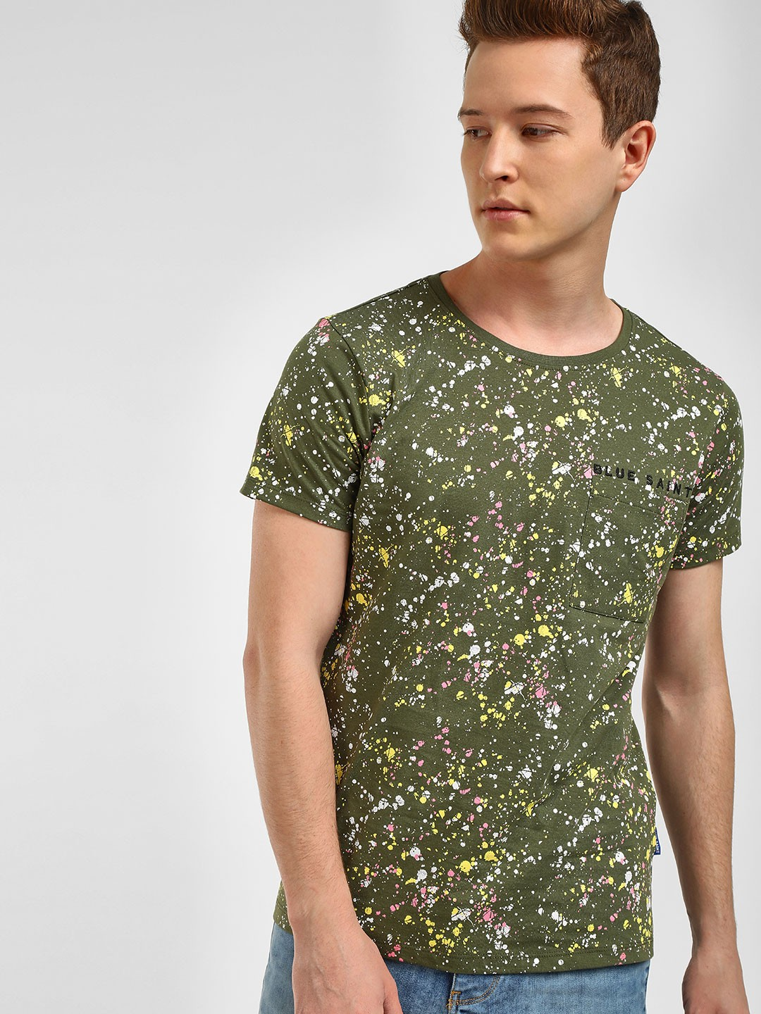 Blue Saint Green Splatter Print Round Neck T-Shirt 1