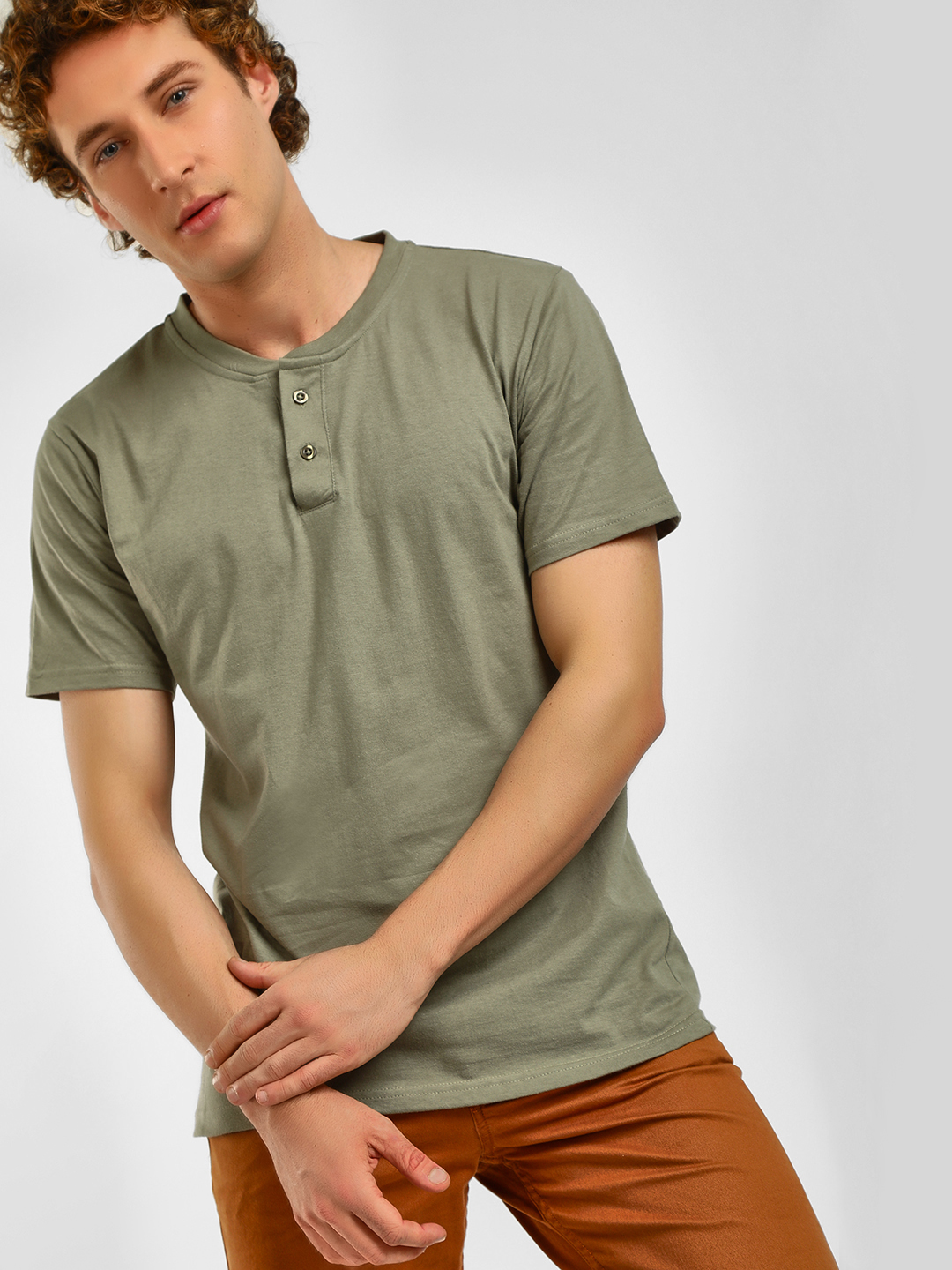 Blue Saint Green Short Sleeve Henley Neck T-Shirt 1