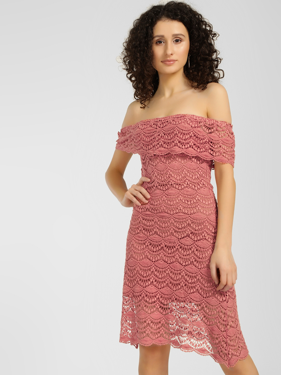 KOOVS Blush Lace Bardot Dress 1