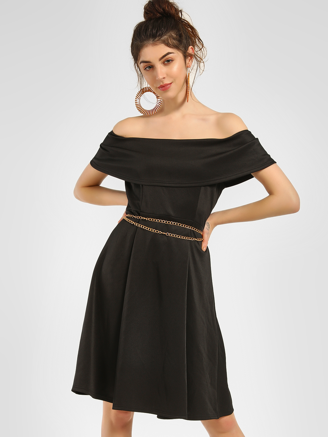 KOOVS Black Basic Skater Off-Shoulder Dress 1