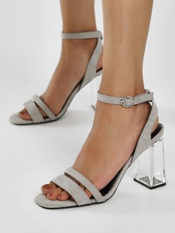New Look Suede Clear Block Heeled Sandals