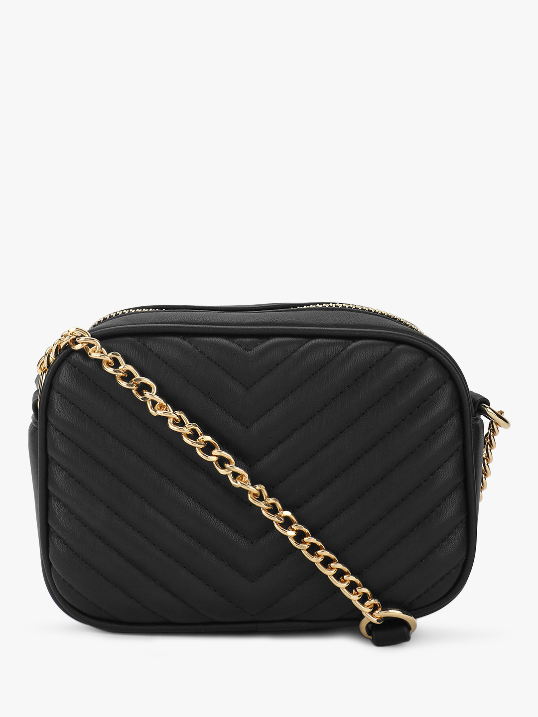 New Look Black Chevron Quilt Sling Bag 1