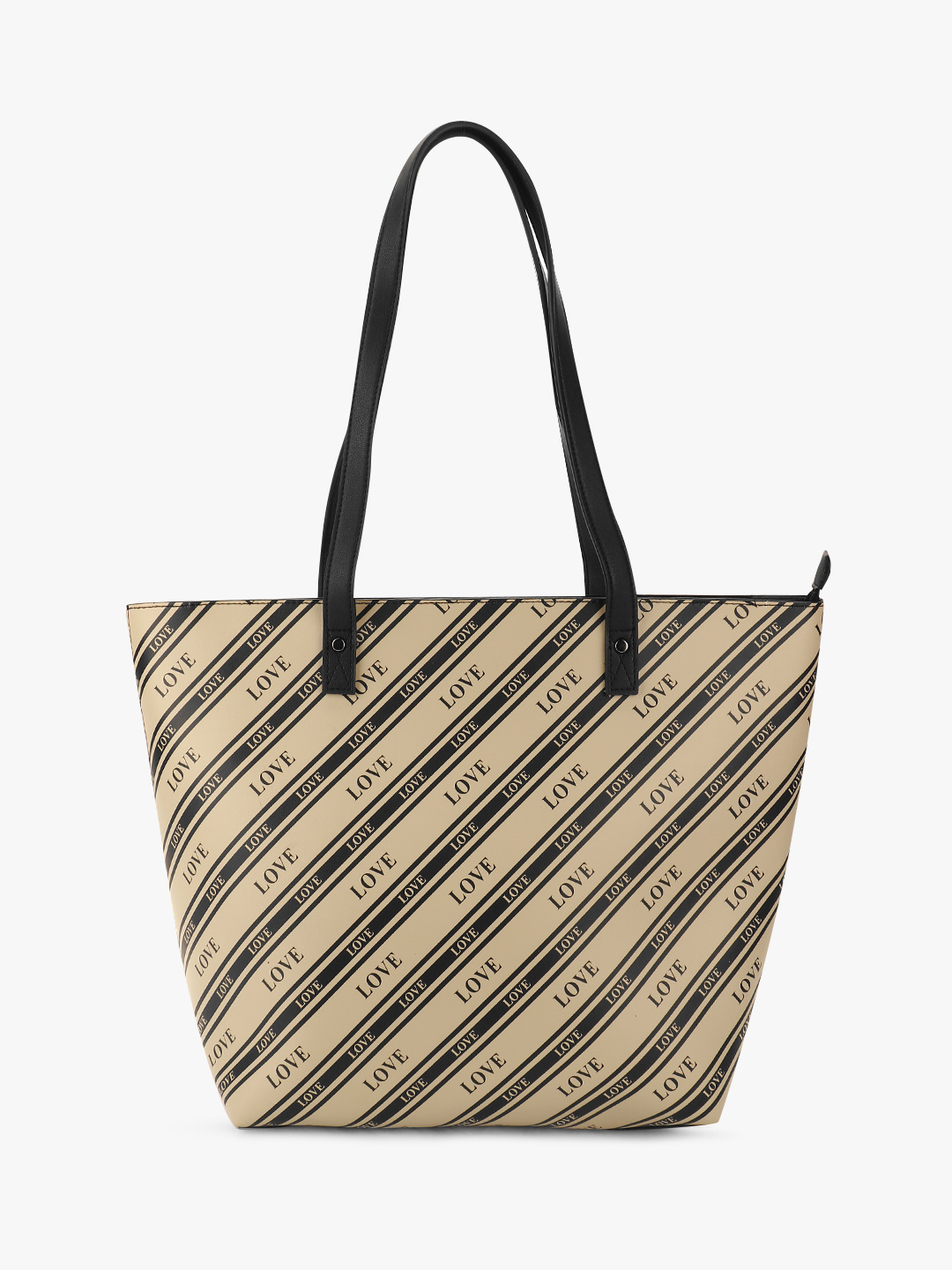 New Look Black Stripe Love Text Tote Bag 1