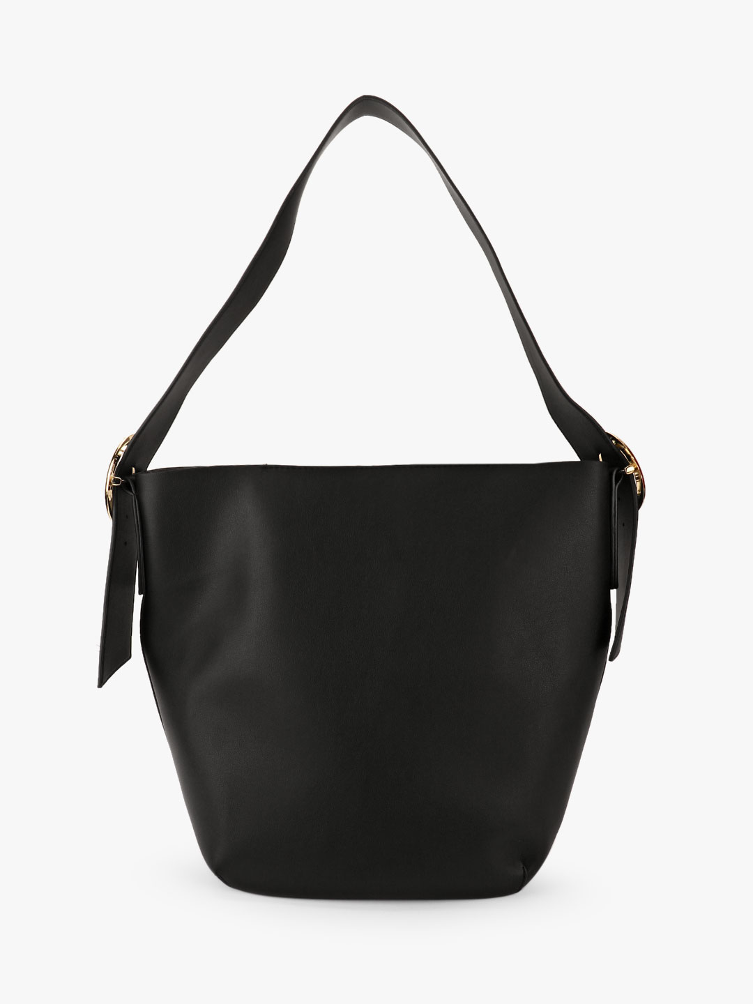 New Look Black Buckle Detail Hobo Tote Bag 1