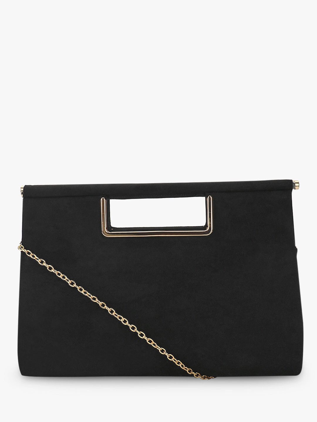New Look Black Metal Handle Suede Clutch 1