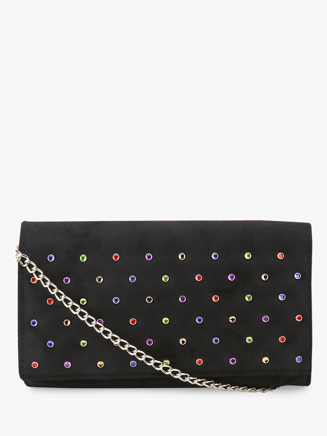 New Look Black Rainbow Rhinestone Suede Clutch 1