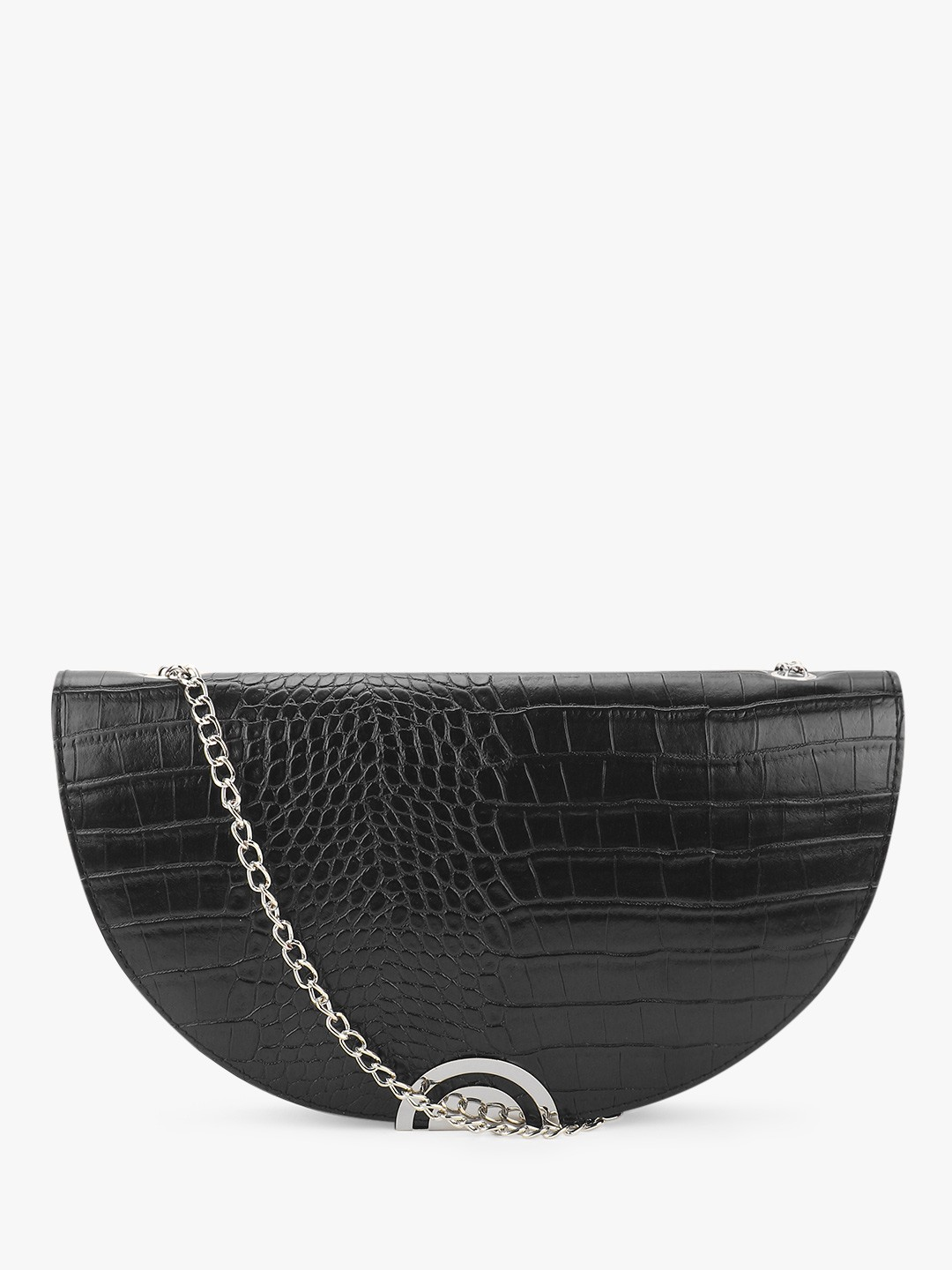 New Look Black Crocskin Half Moon Clutch 1