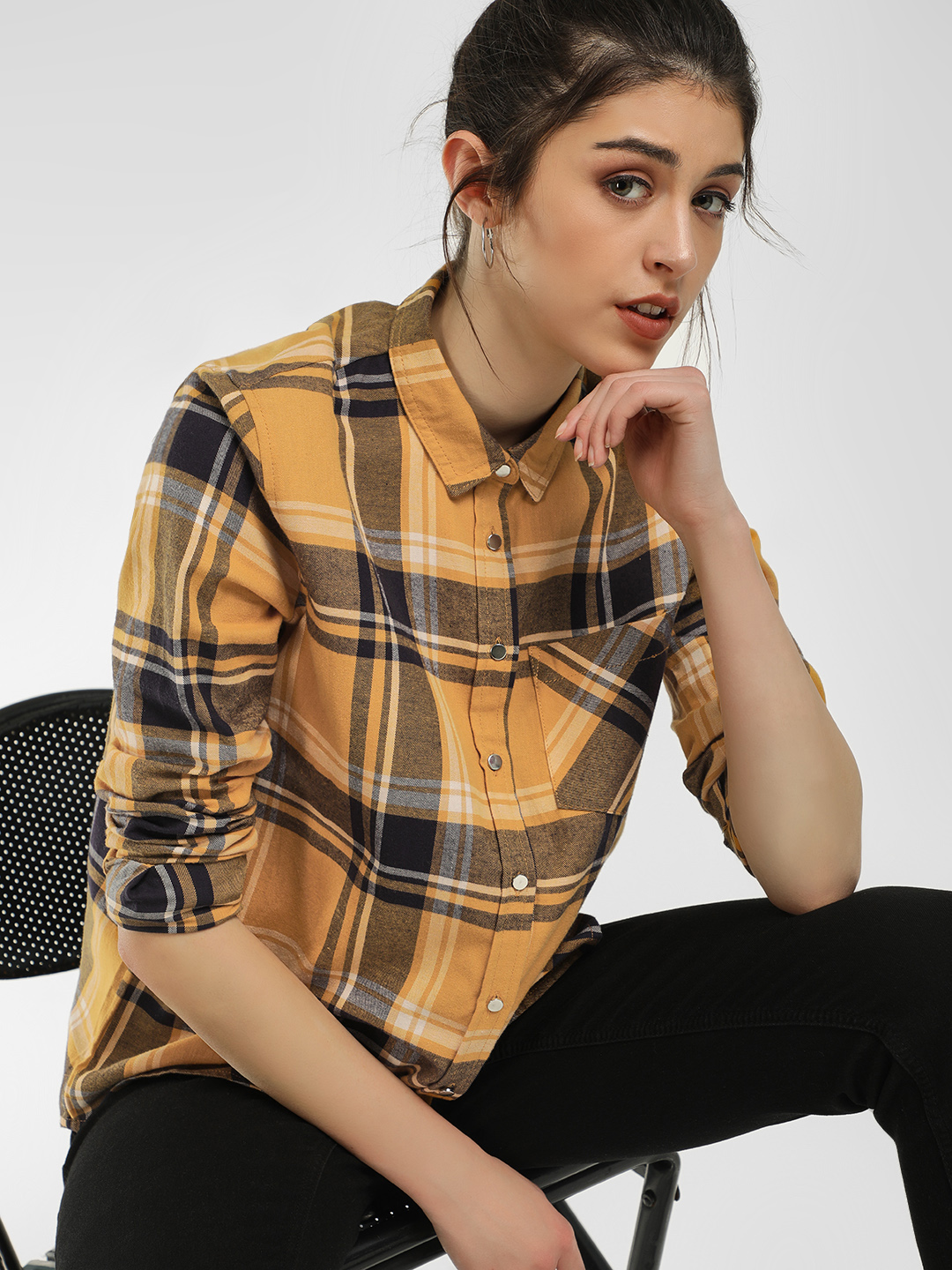 New Look Yellow Stanley Checks Casual Shirt 1