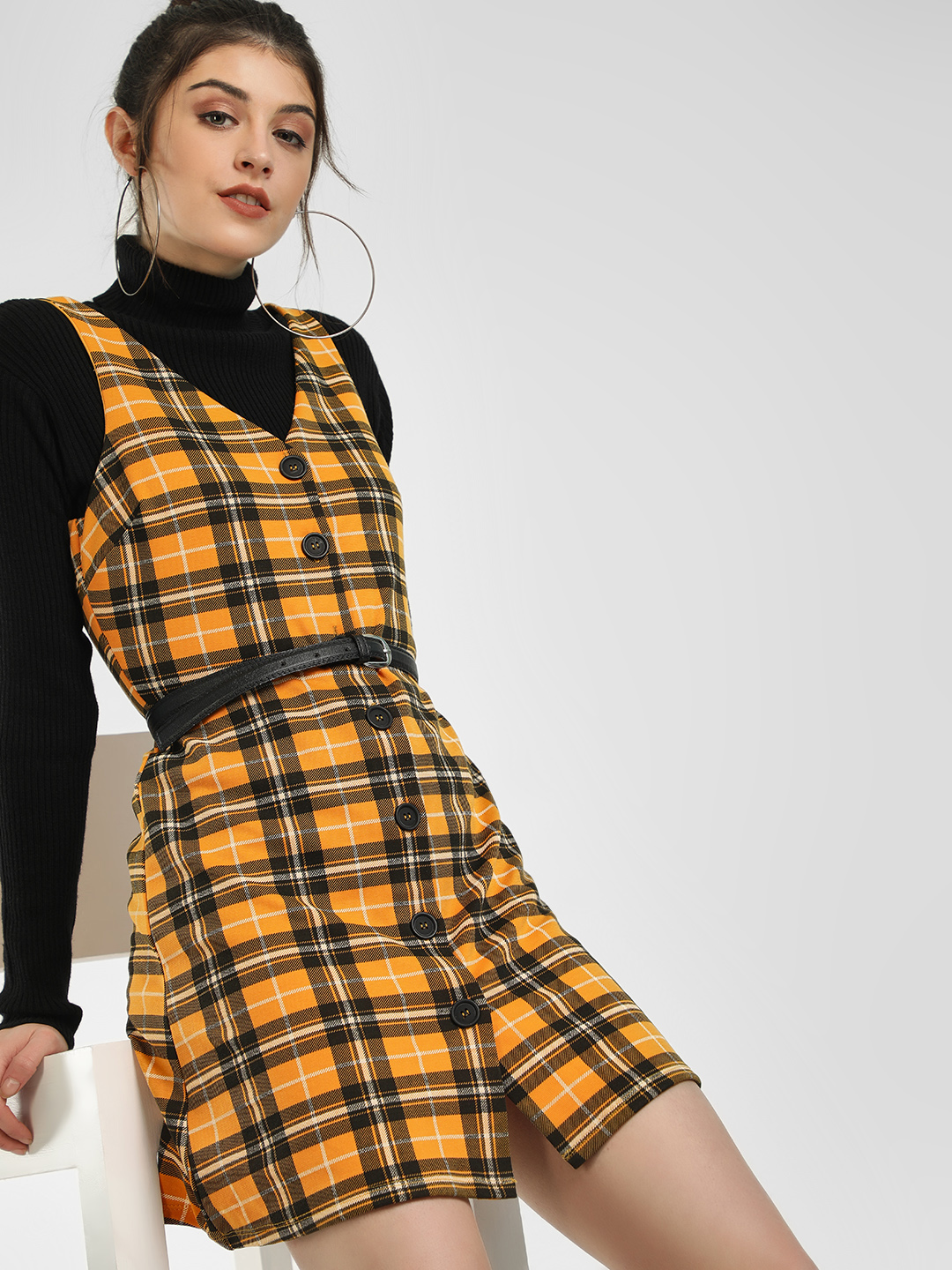New Look Yellow Checkered Sleeveless Shift Dress 1