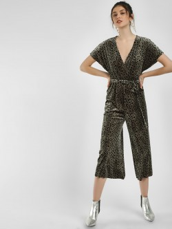 New Look Leopard Print Velvet Jumpsuit