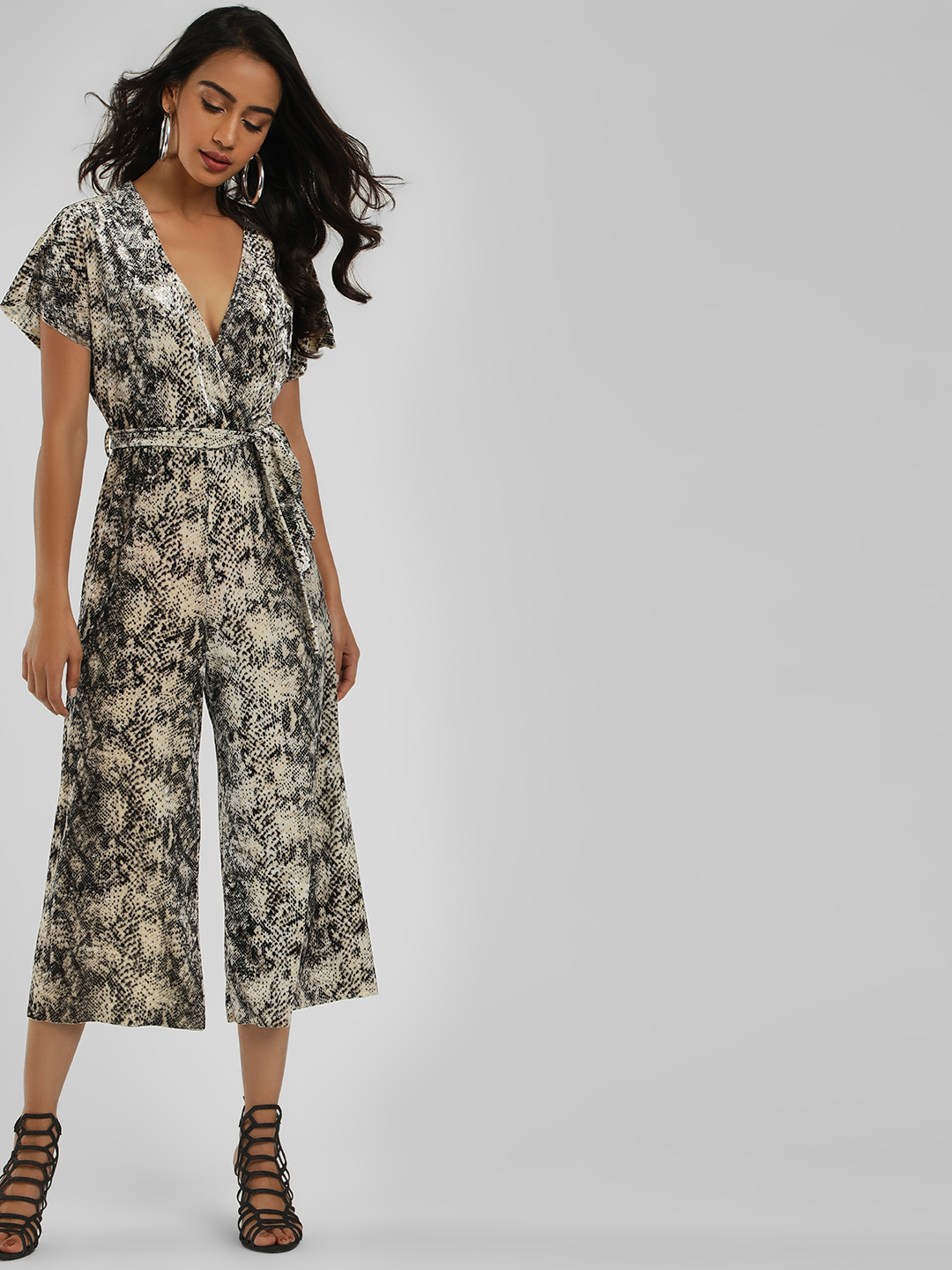 New Look Brown Snake Print Velvet Jumpsuit 1