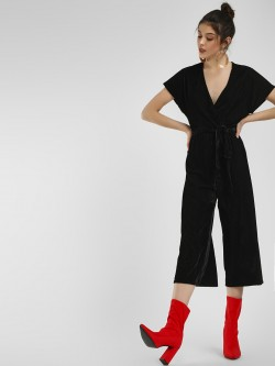 New Look Velvet Ribbed Wrap Jumpsuit