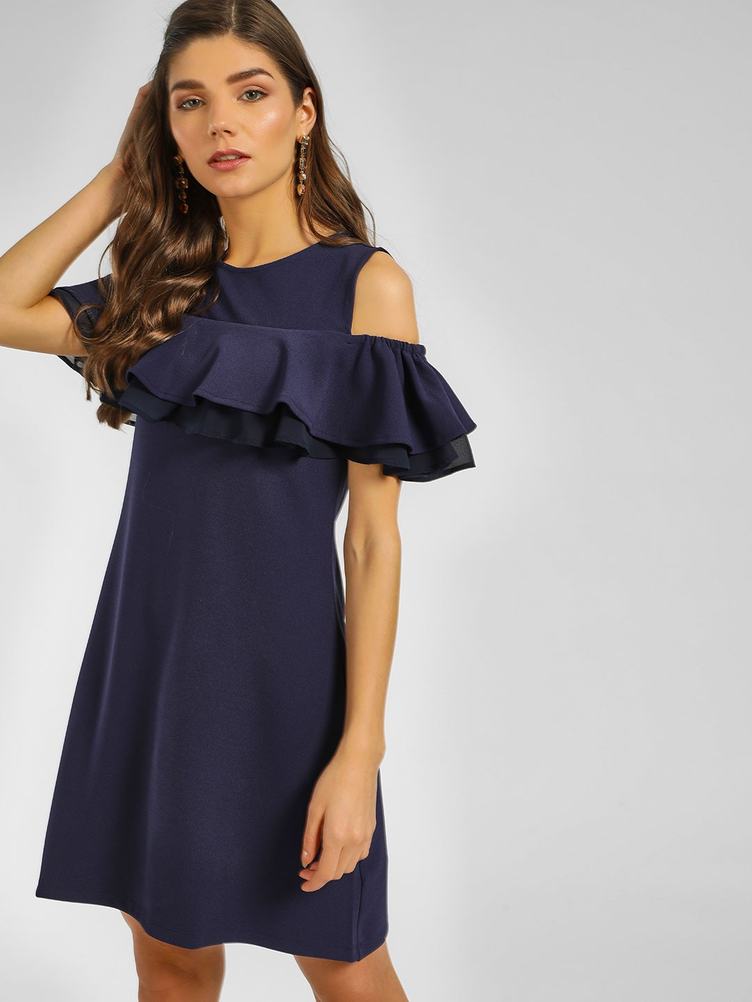 Cover Story Navy Ruffled Cold Shoulder Shift Dress 1