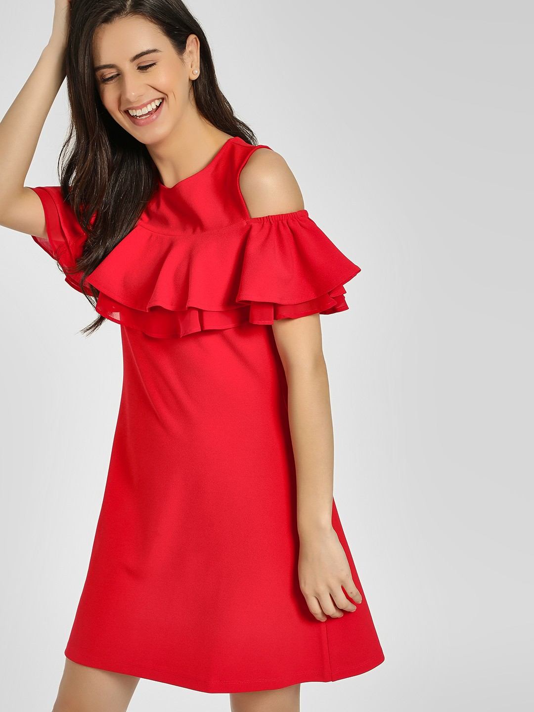 Cover Story Red Ruffled Cold Shoulder Shift Dress 1