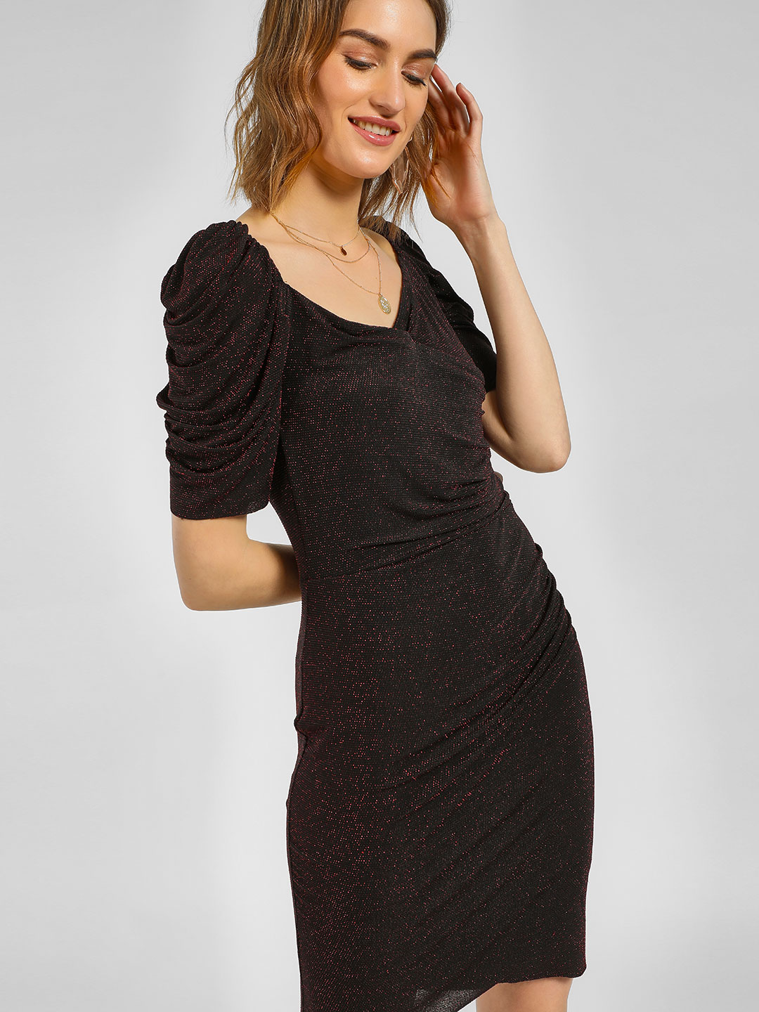 Cover Story Black Shimmer Ruched Sleeve Bodycon Dress 1