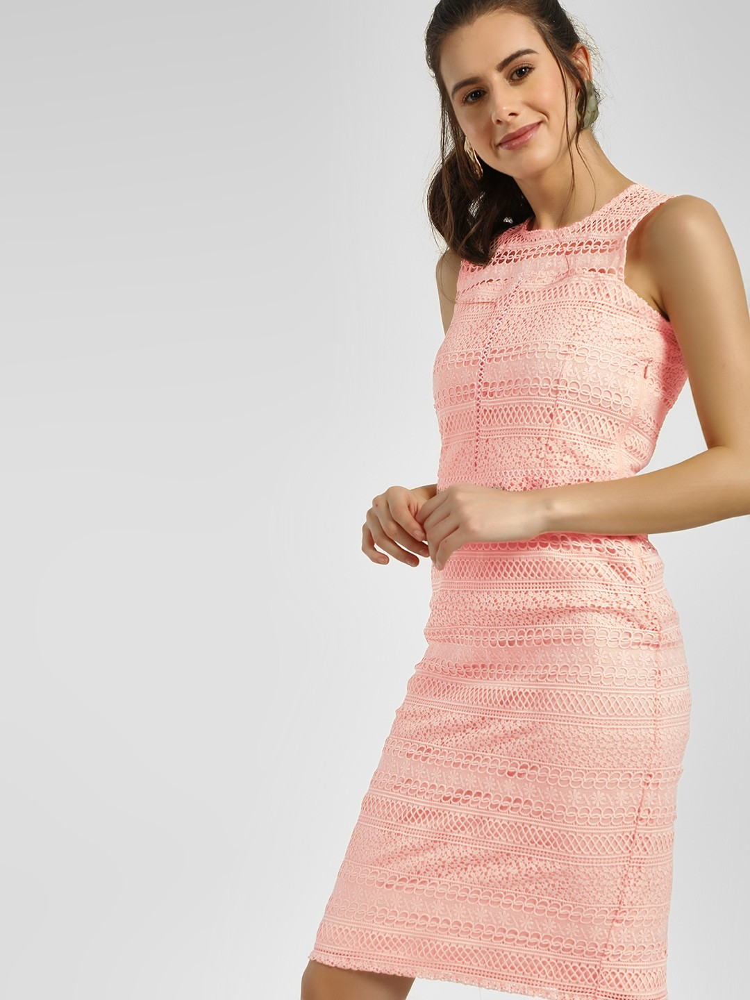 Cover Story Blush pink Lace Detail Bodycon Dress 1
