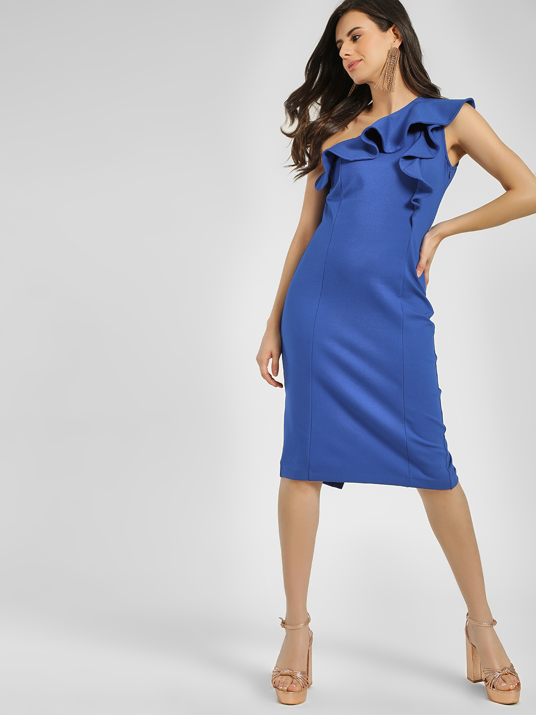 Cover Story Cobalt Ruffled One Shoulder Bodycon Dress 1
