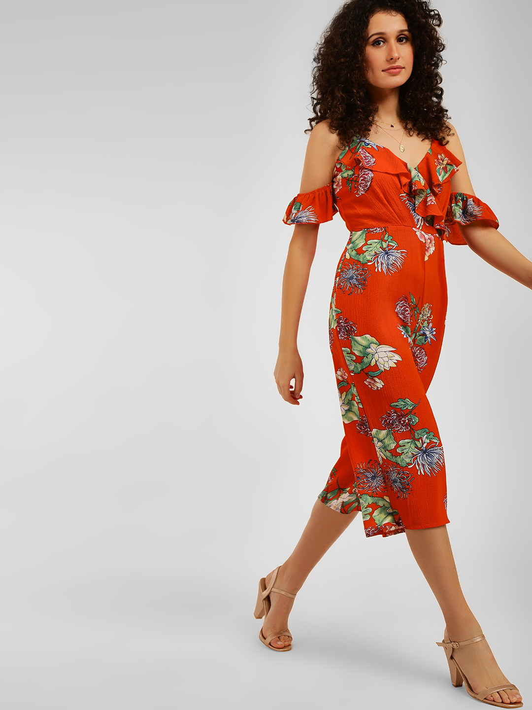 Cover Story Red Floral Print Jumpsuit 1