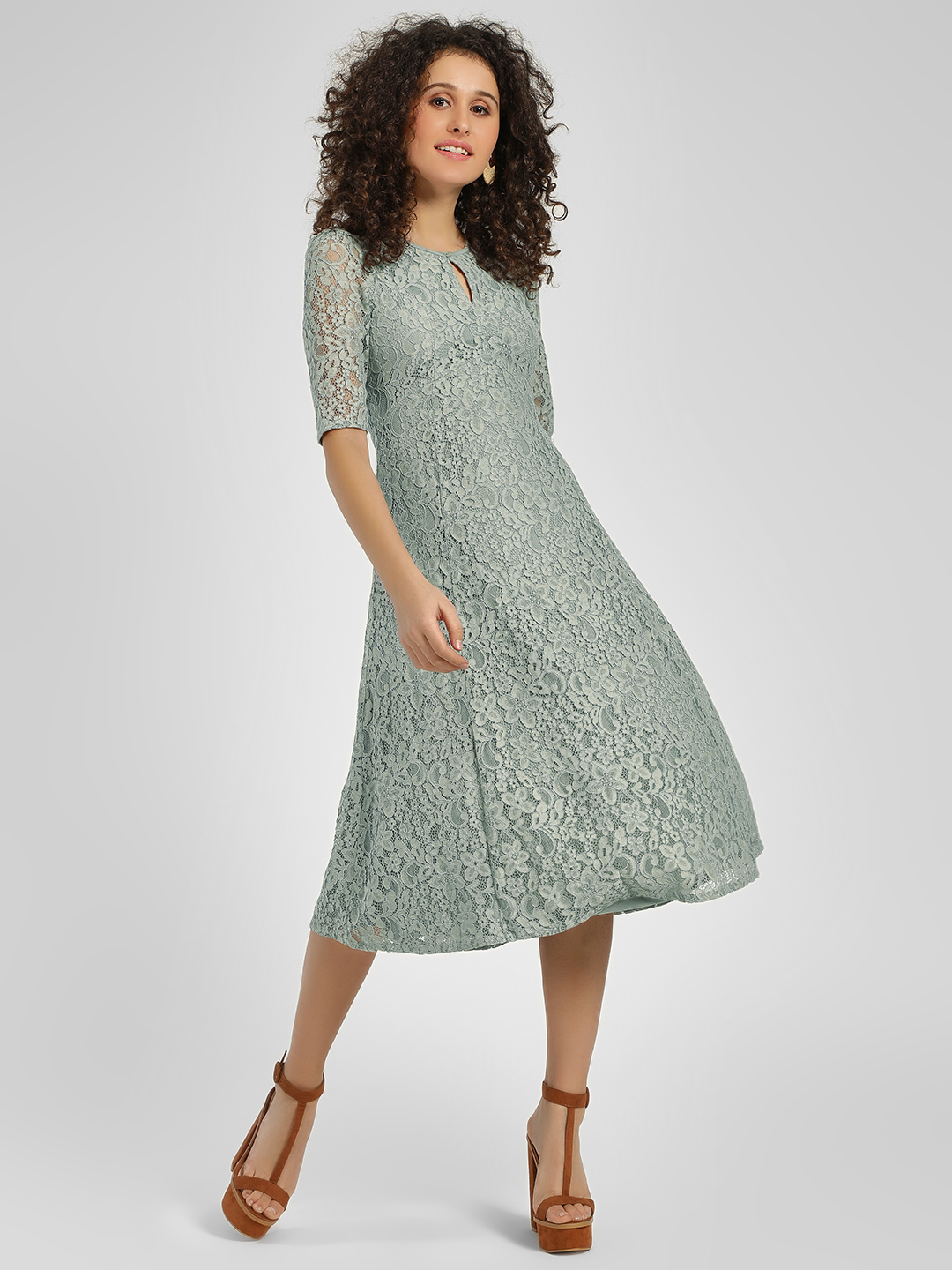 Cover Story Teal Lace Detail Midi Dress 1