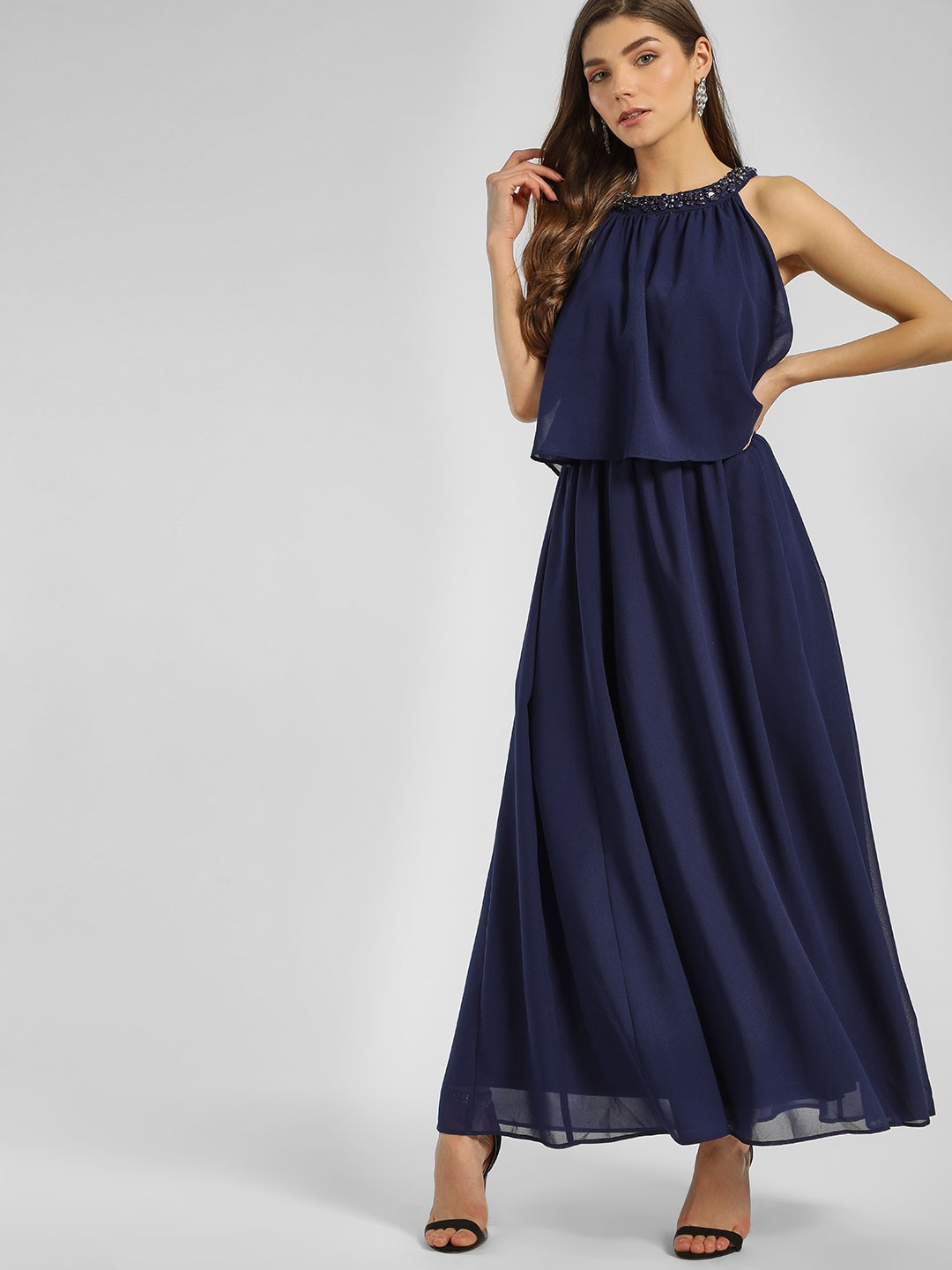 Cover Story Navy Embellished Neck Maxi Dress 1