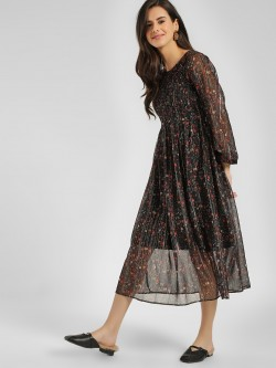 Cover Story Shimmer Floral Print Midi Dress