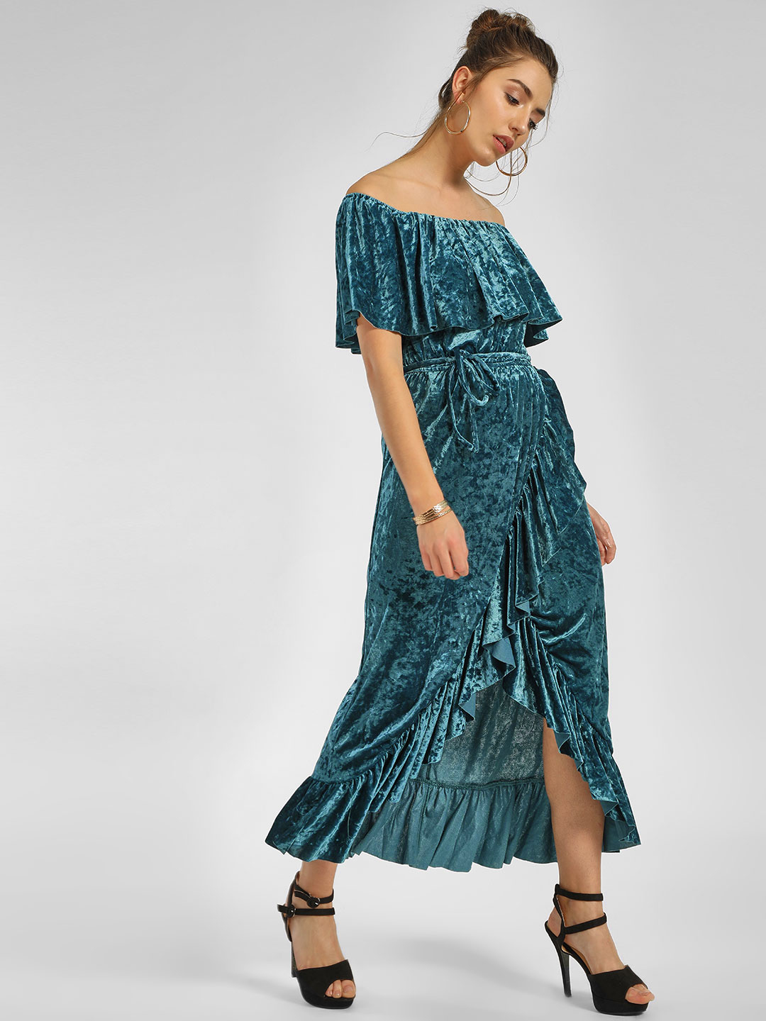 Cover Story Green Chenille Ruffled Off-Shoulder Dress 1