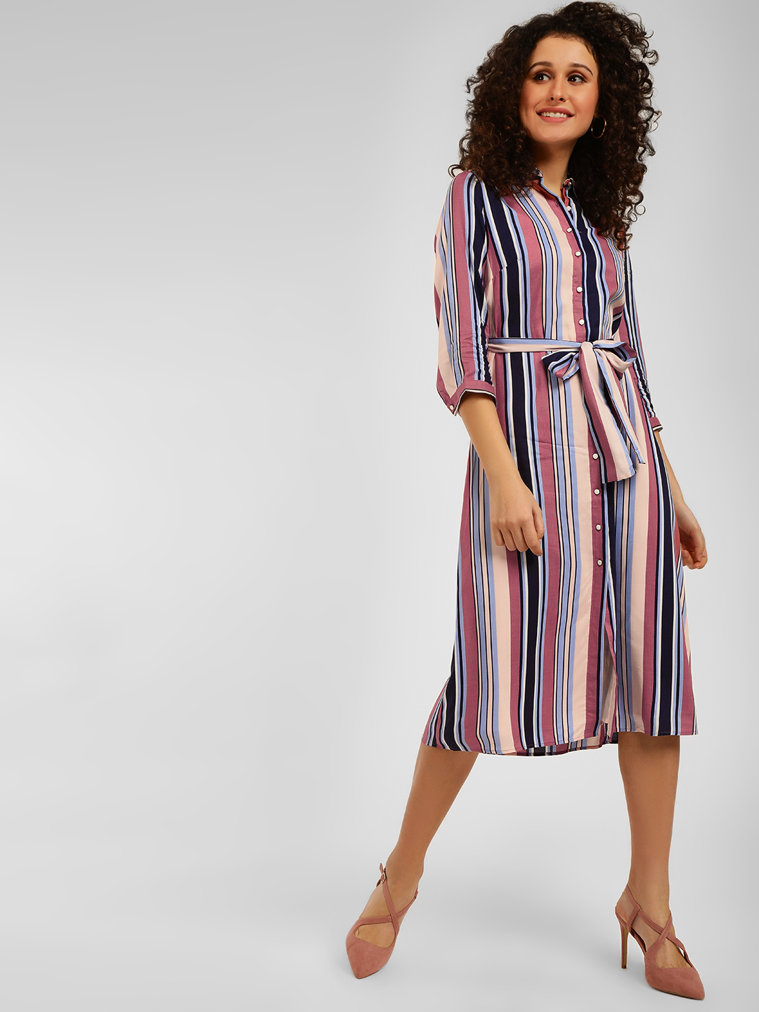 Cover Story Navy Striped Shirt Dress 1