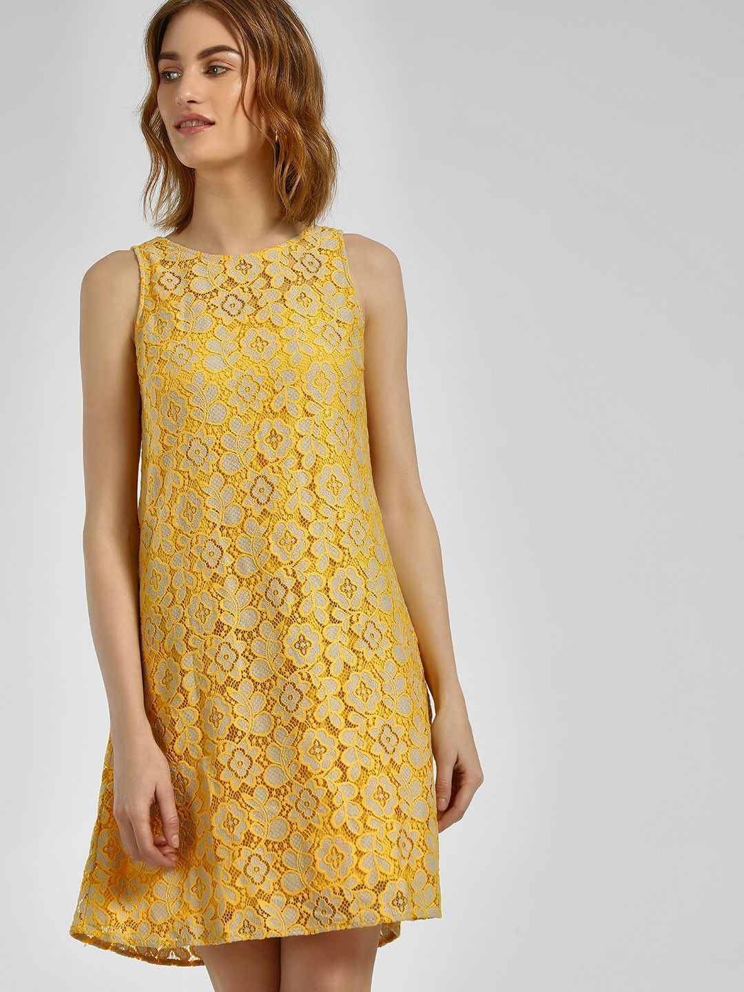 Cover Story Mustard Floral Lace Sleeveless Shift Dress 1