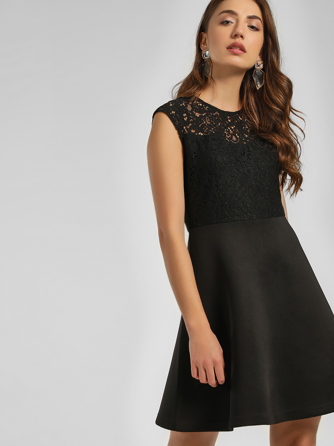 Cover Story Black Floral Lace Sleeveless Skater Dress 1