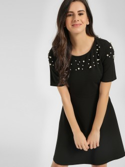 Cover Story Embellished Yoke Skater Dress