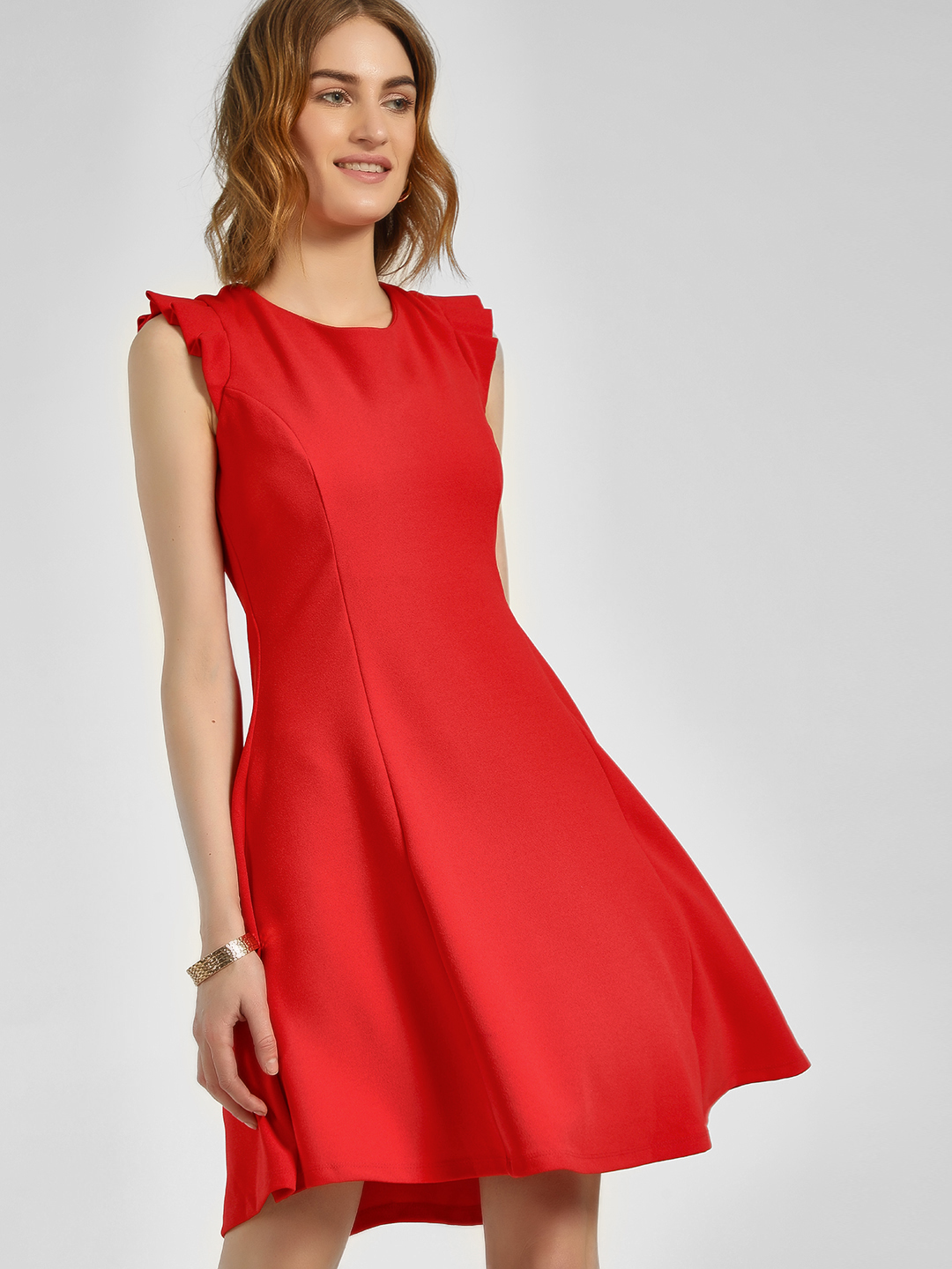 Cover Story Red Ruffled Cap Sleeve Skater Dress 1