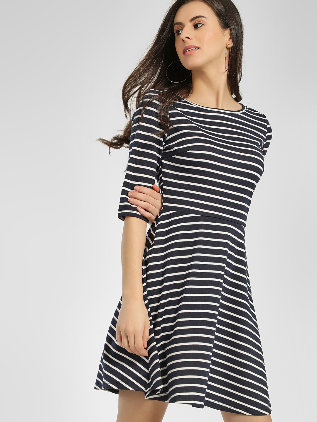 Cover Story Blue Striped Cut-Out Skater Dress 1
