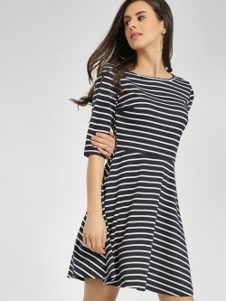 Cover Story Striped Cut-Out Skater Dress