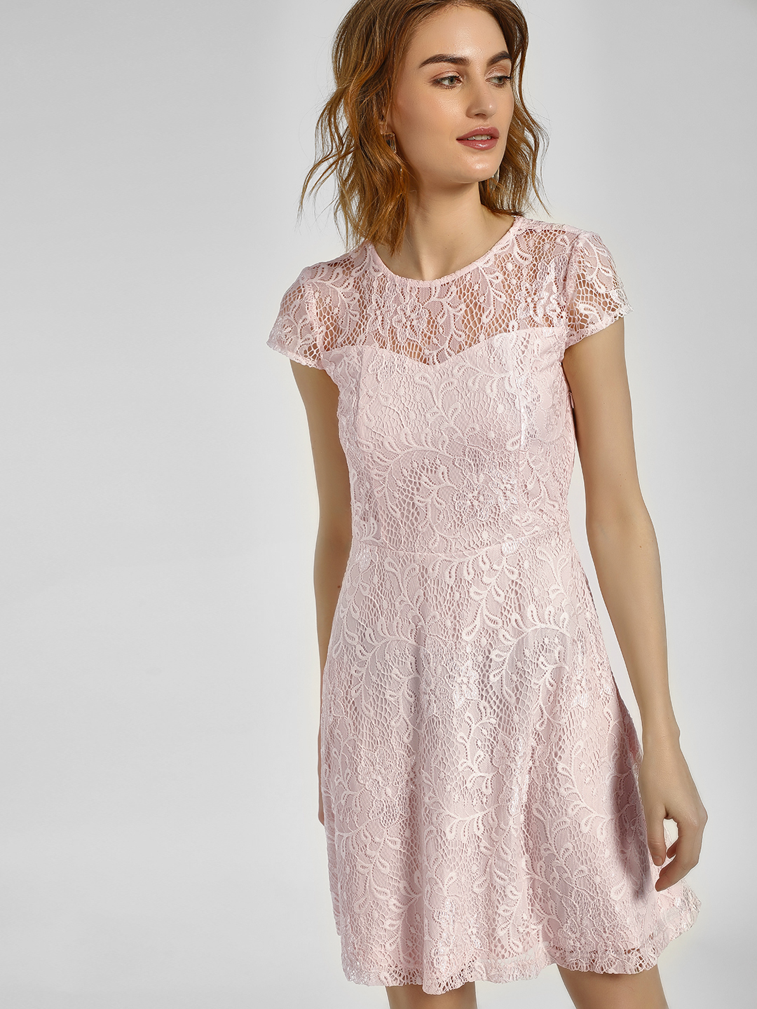 Cover Story Blush Floral Lace Skater Dress 1