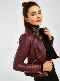 Cover Story Quilted Panel Biker Jacket