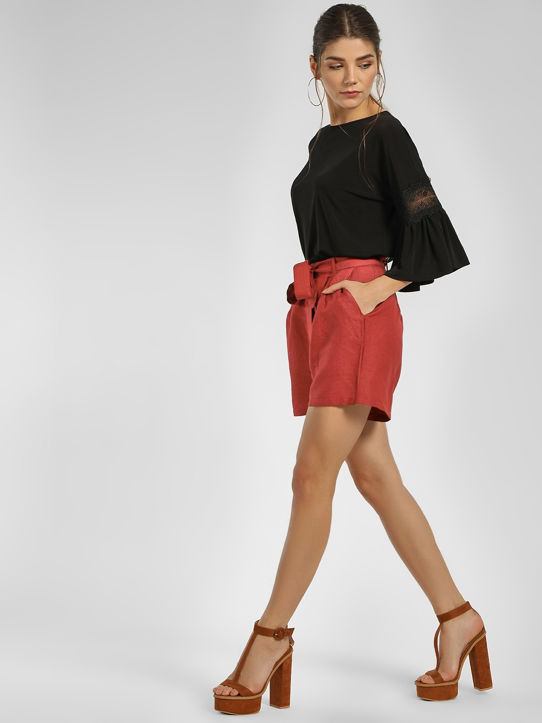Cover Story Rust High Waist Front Knot Shorts 1