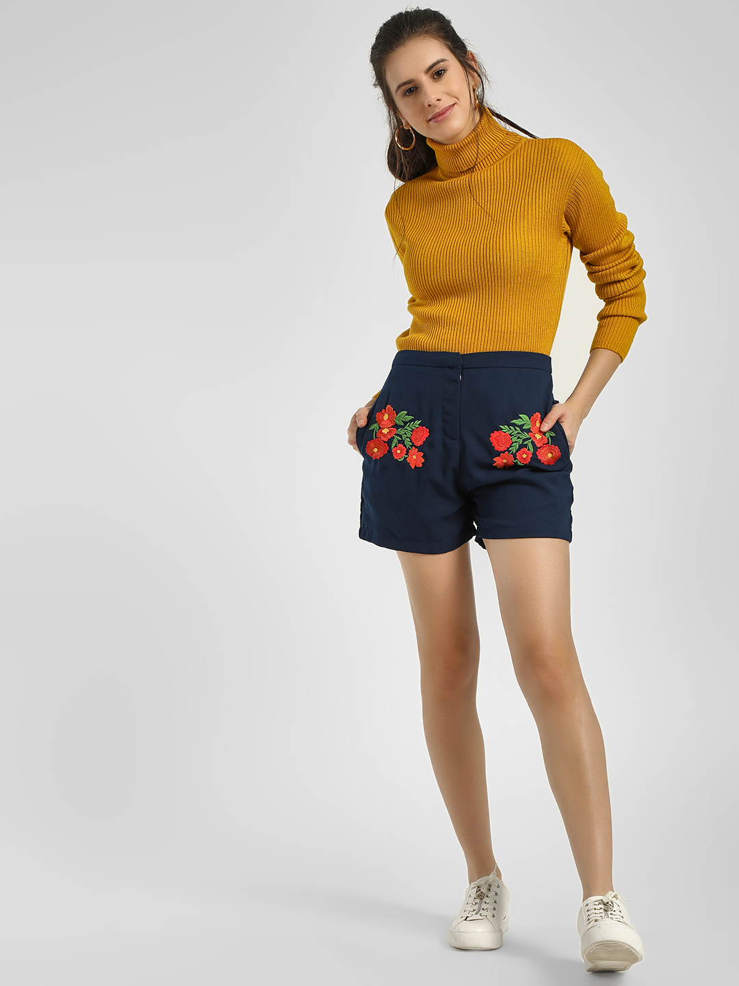Cover Story Blue Floral Embroidered Casual Shorts 1