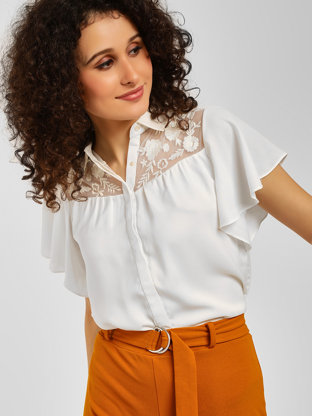 Cover Story White Floral Lace Casual Shirt 1