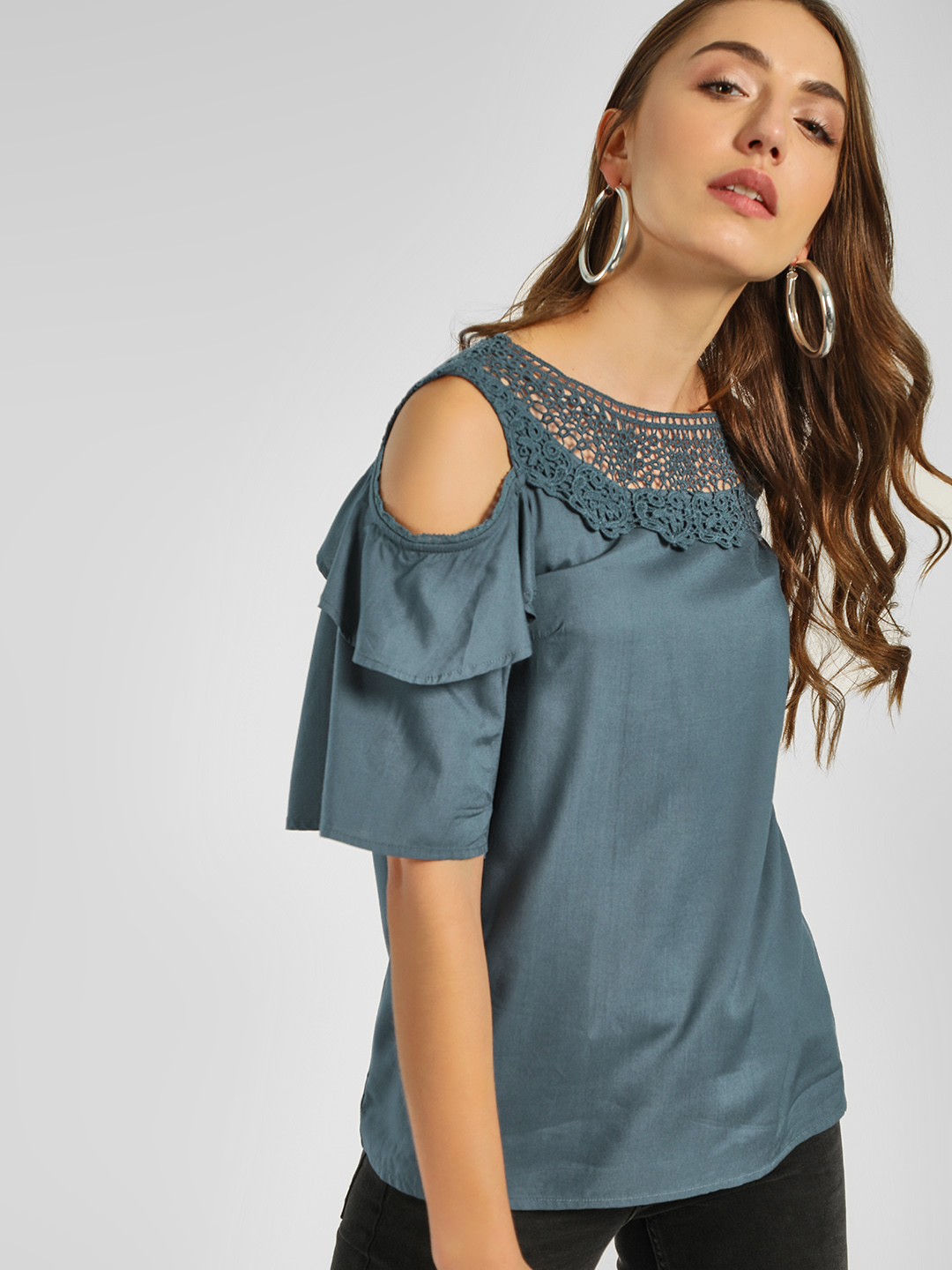 Cover Story Teal Crochet Lace Cold Shoulder Top 1