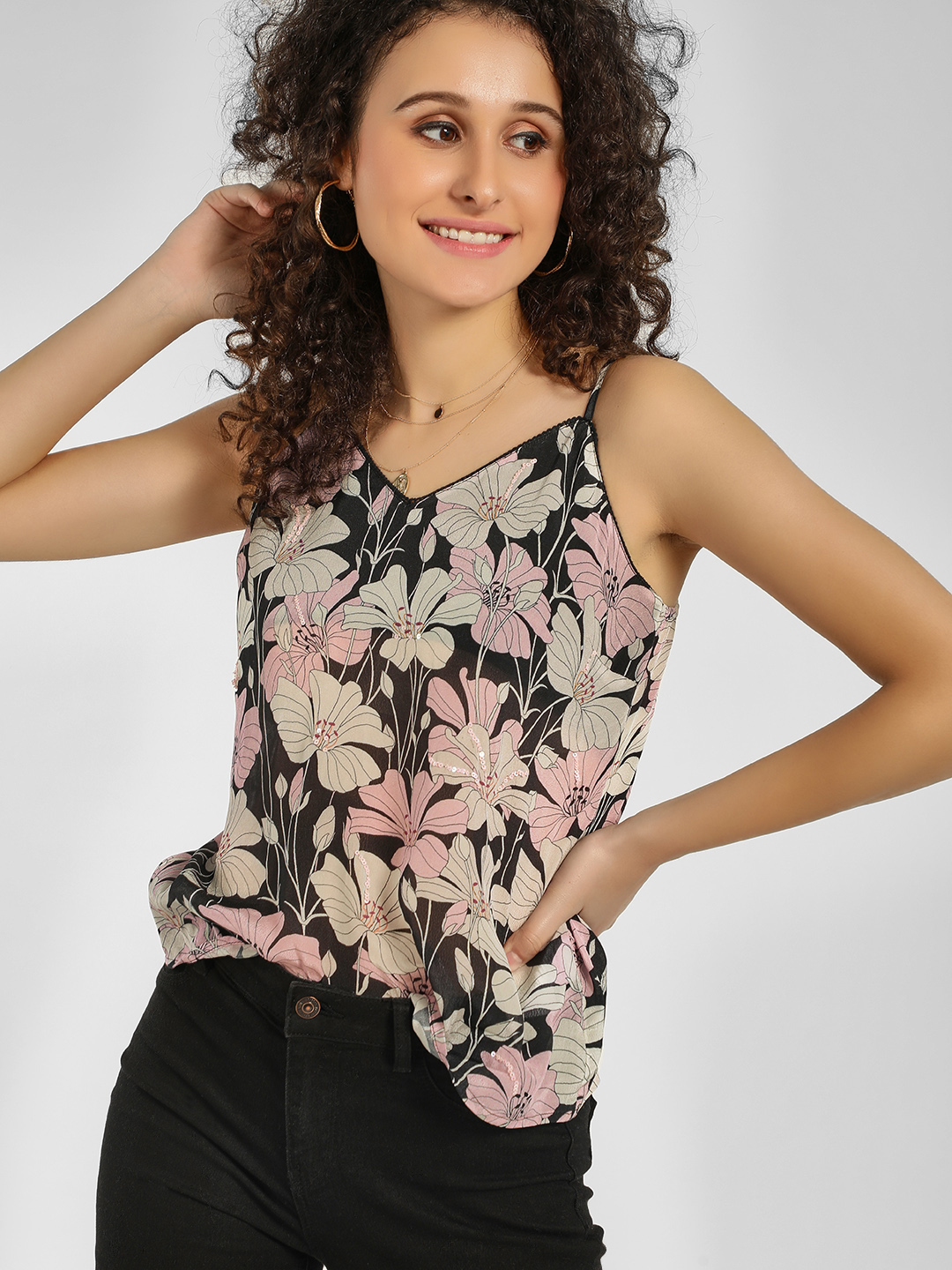 Cover Story Print Sequined Floral Print Cami Top 1