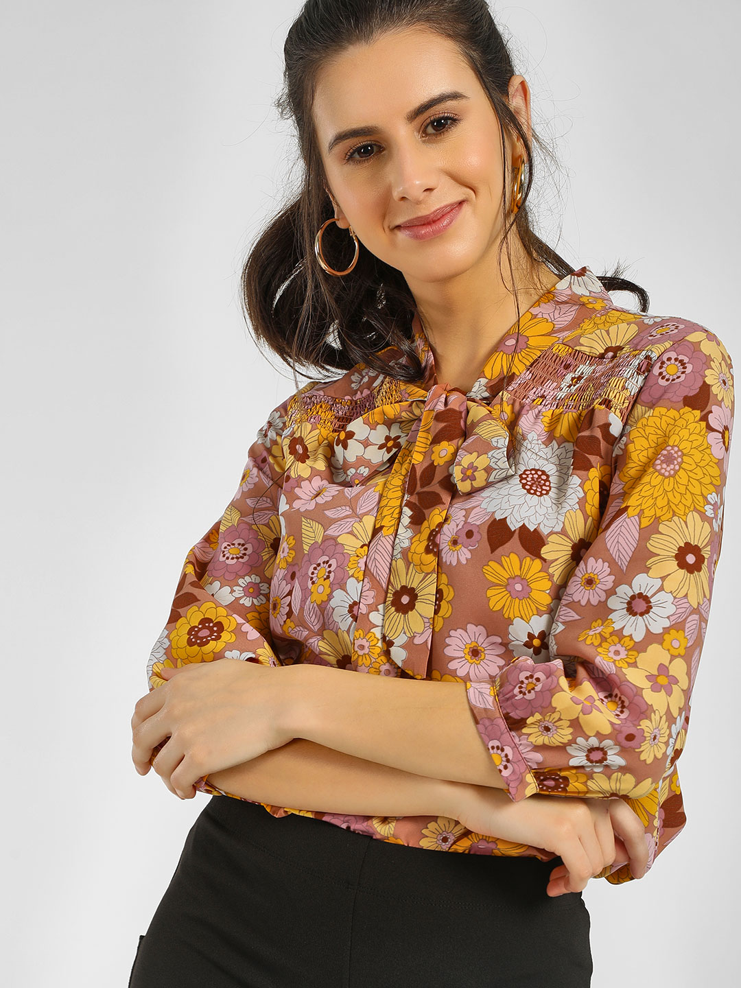 Cover Story White Embroidered Flared Sleeve Blouse 1