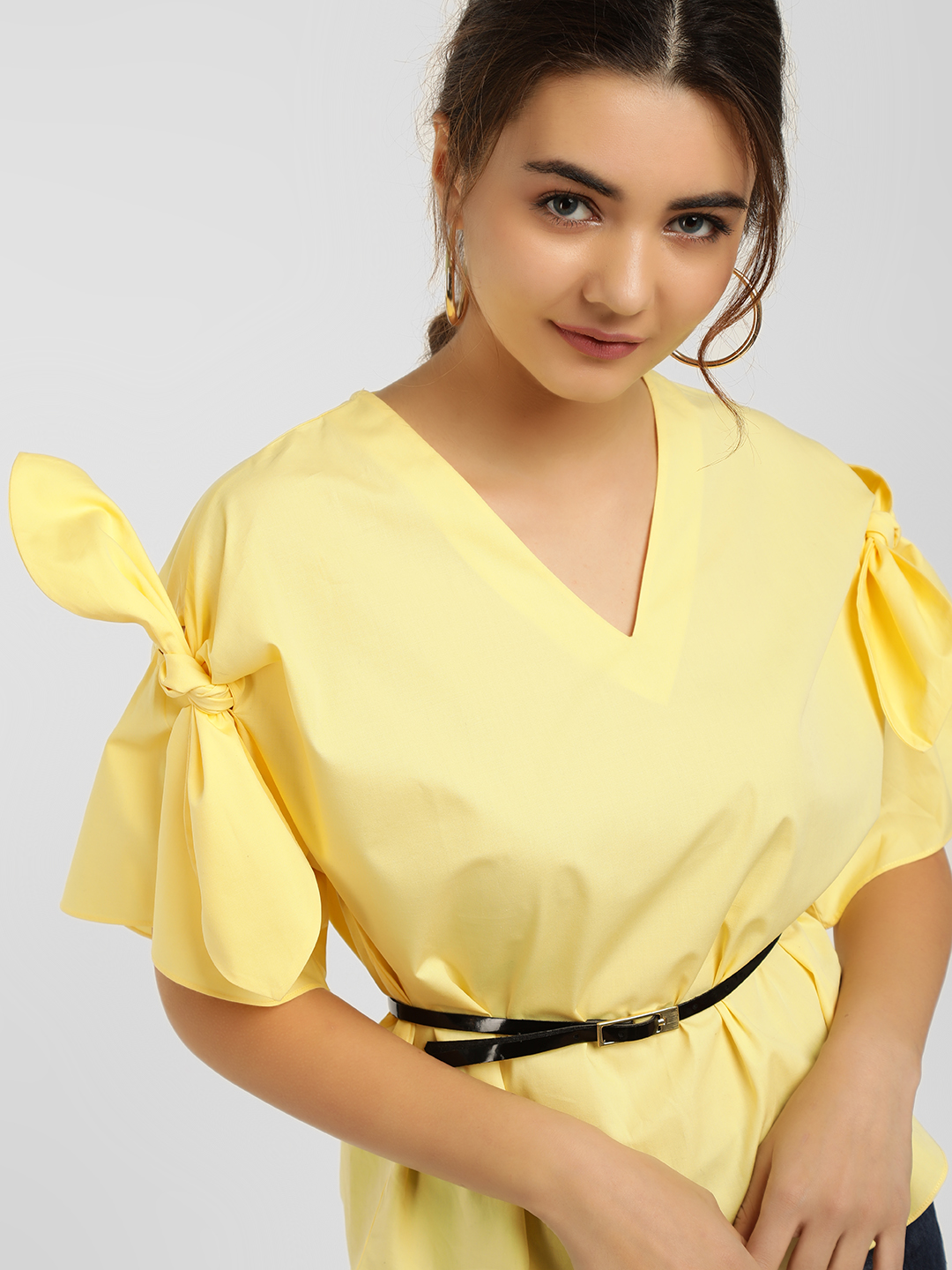 Cover Story Yellow V-Neck Sleeve Knot Top 1
