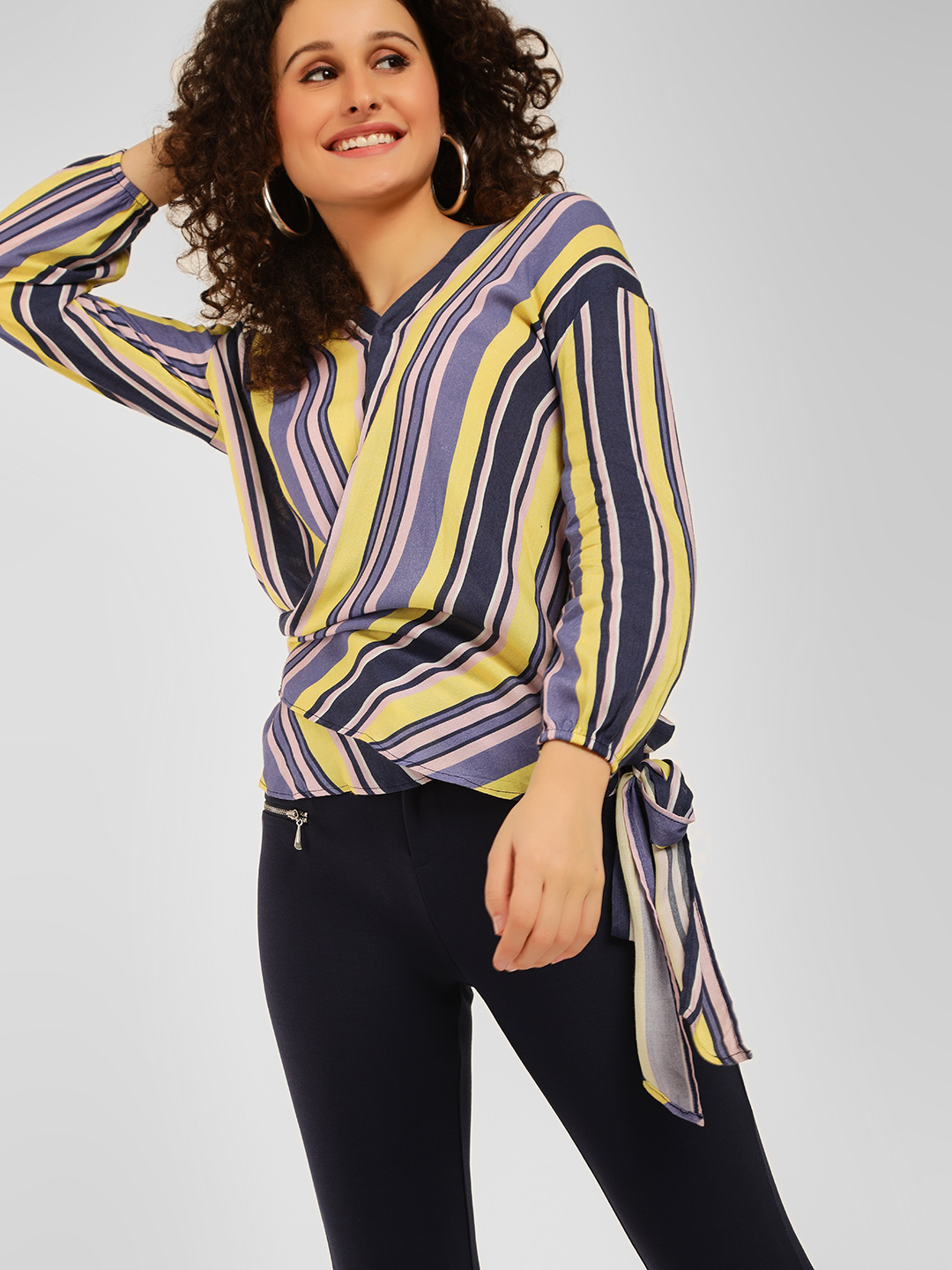 Cover Story STRIPE Striped Wrap Top 1