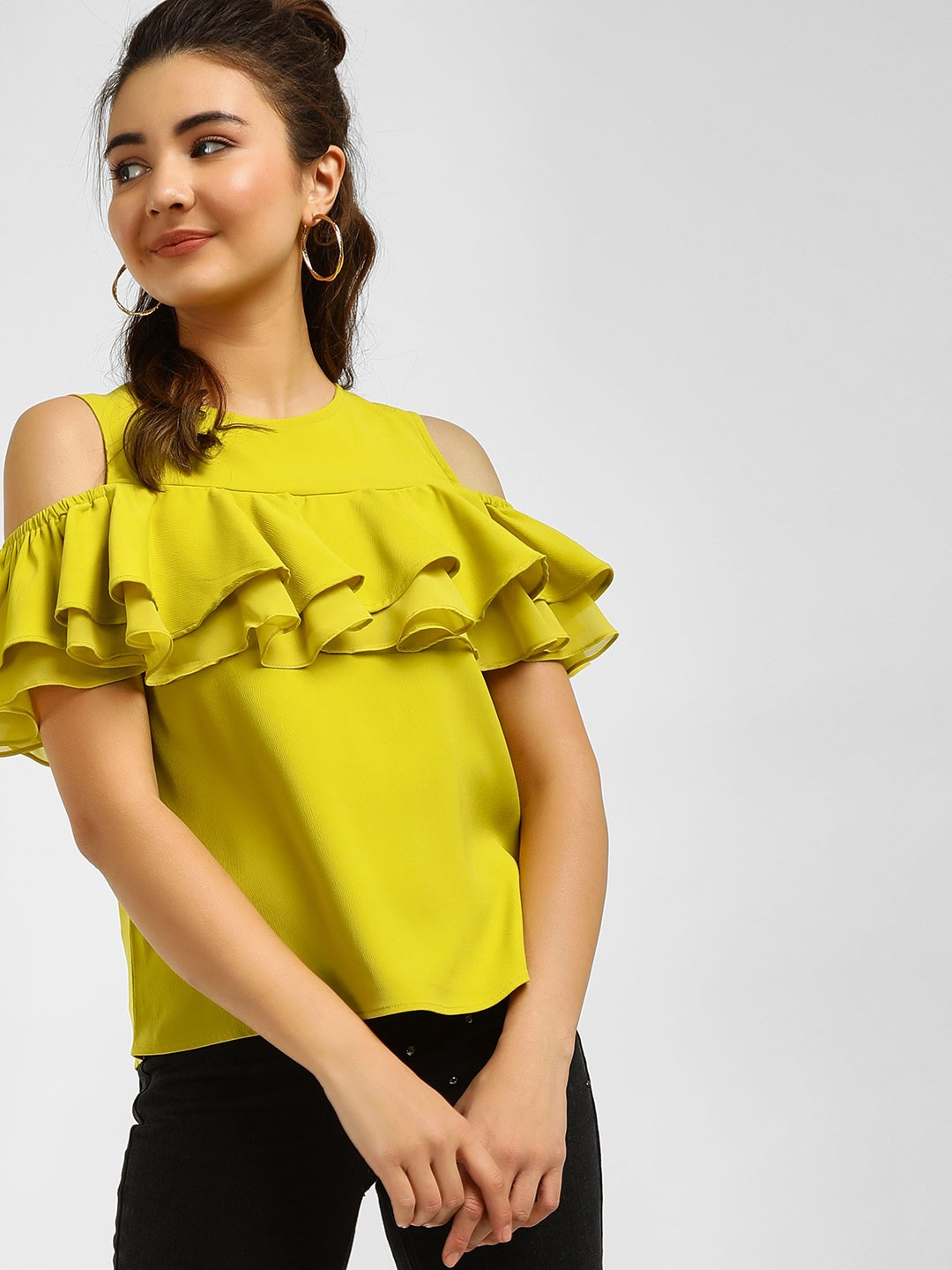 Cover Story Lime Green Cold Shoulder Ruffle Top 1