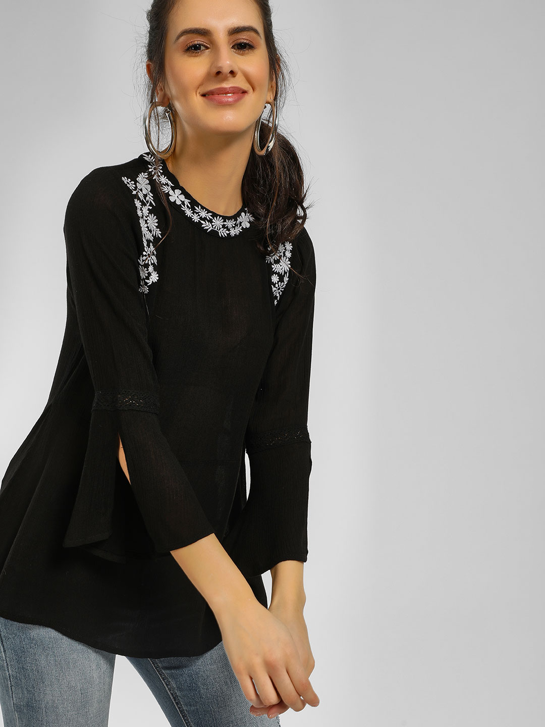 Cover Story Black Floral Embroidered Flared Blouse 1