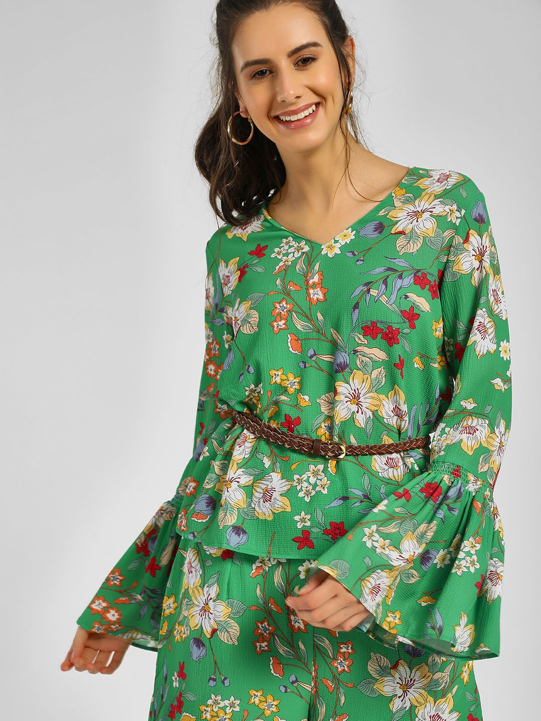 Cover Story Print Floral Printed Bell Sleeve Top 1