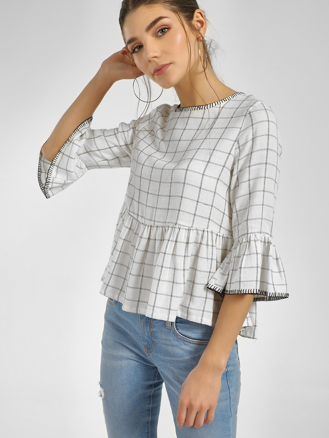 Cover Story White Checkered Bell Sleeve Top 1